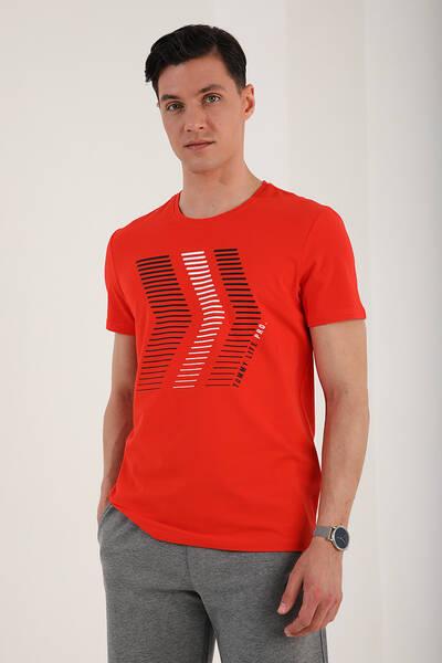 TommyLife - Tommy Life Toptan Fiesta Erkek Çift Renk Ok Desen Baskılı Rahat Form O Yaka T-Shirt - 87960