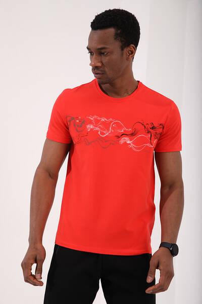TommyLife - Tommy Life Toptan Fiesta Erkek Renkli Desen Baskılı Standart Kalıp O Yaka T-Shirt - 87906
