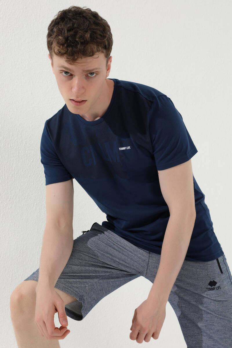 TommyLife - Tommy Life Toptan İndigo Erkek Mat Desen Baskılı Standart Kalıp O Yaka T-Shirt - 87976