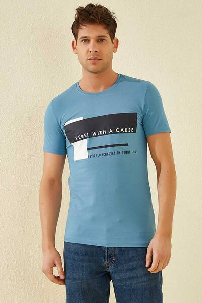 TommyLife - Tommy Life Toptan Üç Renk Baskılı O Yaka Kirli Mavi Erkek Tshirt