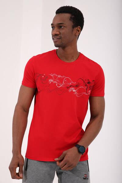 TommyLife - Tommy Life Toptan Kırmızı Erkek Renkli Desen Baskılı Standart Kalıp O Yaka T-Shirt - 87906