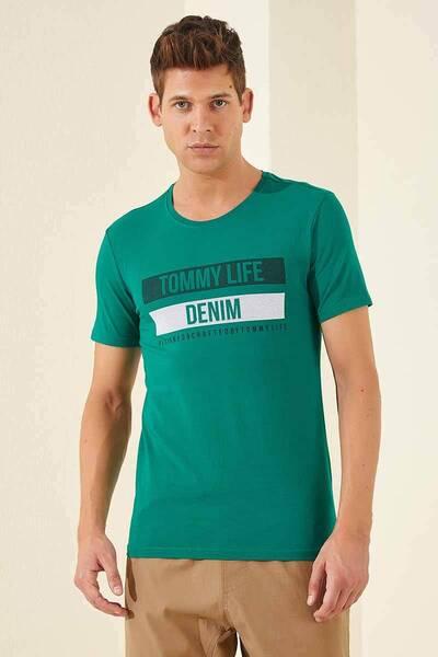 TommyLife - Tommy Life Toptan Denim Baskılı O Yaka Koyu Yeşil Erkek Tshirt
