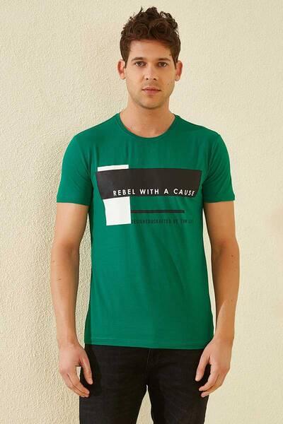 TommyLife - Tommy Life Toptan Üç Renk Baskılı O Yaka Koyu Yeşil Erkek Tshirt