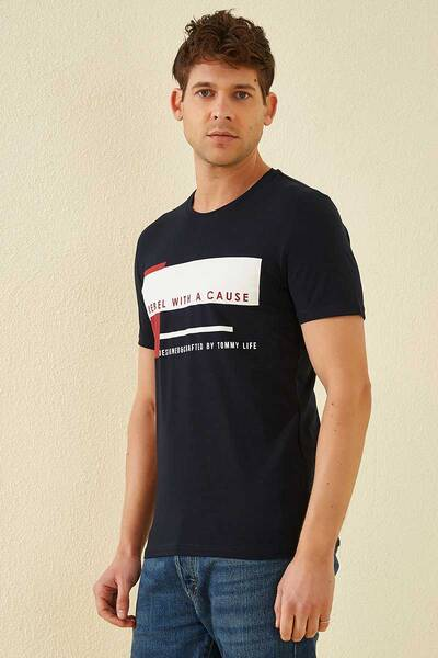 TommyLife - Tommy Life Toptan Üç Renk Baskılı O Yaka Lacivert Erkek Tshirt