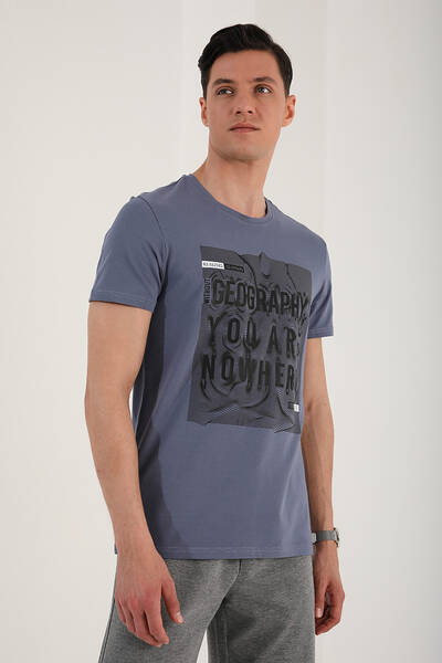 TommyLife - Tommy Life Toptan Petrol Erkek Deforme Yazı Baskılı Rahat Form O Yaka T-Shirt - 87967