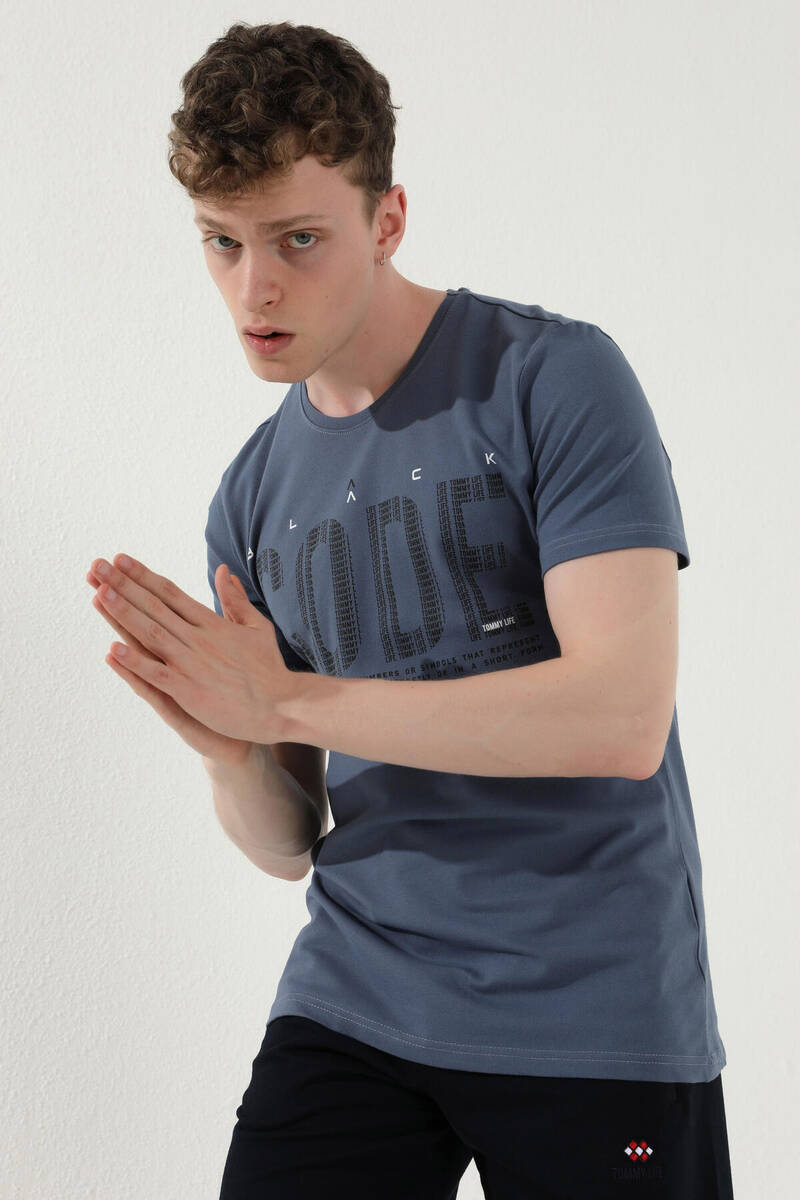 TommyLife - Tommy Life Toptan Petrol Erkek Tipografik Yazı Baskılı Standart Kalıp O Yaka T-Shirt - 87970