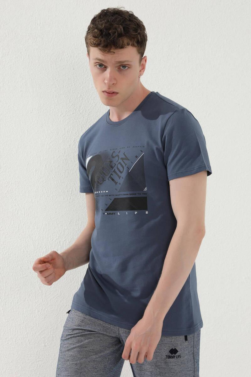 TommyLife - Tommy Life Toptan Petrol Erkek Desenli Yazı Baskılı Standart Kalıp O Yaka T-Shirt - 87974