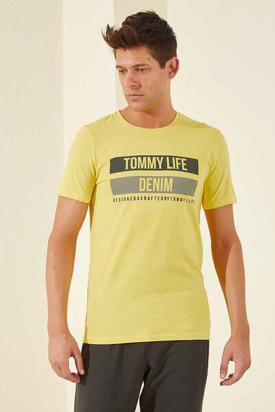 TommyLife - Tommy Life Toptan Sarı Erkek Baskılı Kısa Kol Dar Kalıp O Yaka T-Shirt-87292