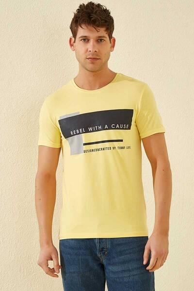 TommyLife - Tommy Life Toptan Üç Renk Baskılı O Yaka Sarı Erkek Tshirt