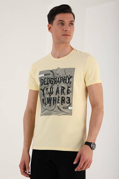 TommyLife - Tommy Life Toptan Sarı Erkek Deforme Yazı Baskılı Rahat Form O Yaka T-Shirt - 87967