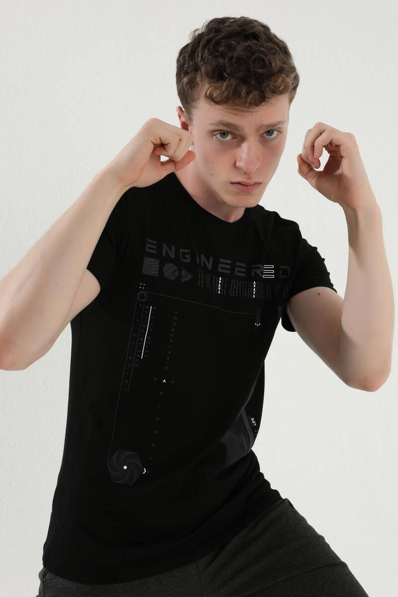TommyLife - Tommy Life Toptan Siyah Erkek Geometrik Desenli Yazı Baskılı Standart Kalıp O Yaka T-Shirt - 87933