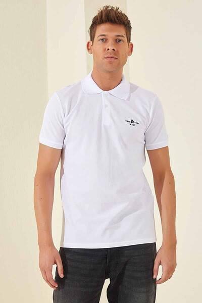 TommyLife - Tommy Life Toptan Klasik Nakışlı Polo Yaka Beyaz Erkek Tshirt