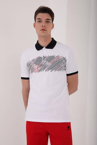 TommyLife - Tommy Life Toptan Beyaz Erkek Sayı Detaylı Çizgi Baskılı Standart Kalıp Polo Yaka T-Shirt - 87955