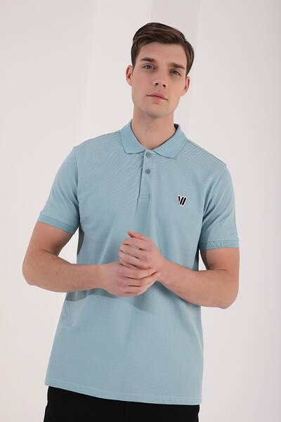 TommyLife - Tommy Life Toptan Buz Mavi Erkek Klasik Kısa Kol Dar Kalıp Polo Yaka T-Shirt-87768