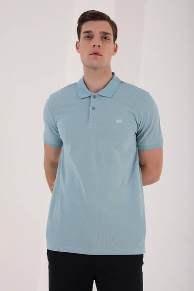 TommyLife - Tommy Life Toptan Buz Mavi Erkek Basic Logolu Standart Kalıp Triko Polo Yaka T-Shirt - 87748
