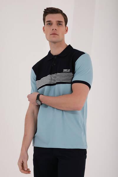 TommyLife - Tommy Life Toptan Buz Mavi Erkek Çift Renk Göğüs Baskılı Standart Kalıp Triko Polo Yaka T-Shirt - 87939
