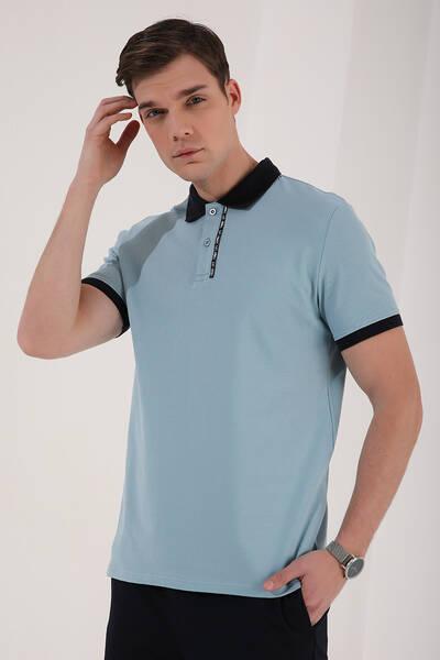 TommyLife - Tommy Life Toptan Buz Mavi Erkek Basic Çift Düğmeli Standart Kalıp Polo Yaka T-Shirt - 87944