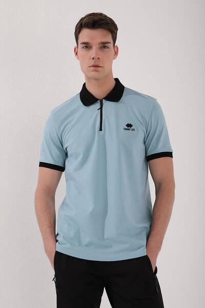 TommyLife - Tommy Life Toptan Buz Mavi Erkek Yarım Fermuarlı Standart Kalıp Polo Yaka T-Shirt - 87961