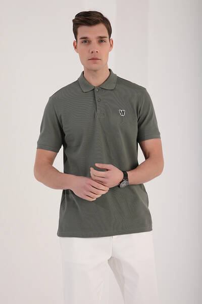 TommyLife - Tommy Life Toptan Çağla Erkek Klasik Kısa Kol Dar Kalıp Polo Yaka T-Shirt-87768