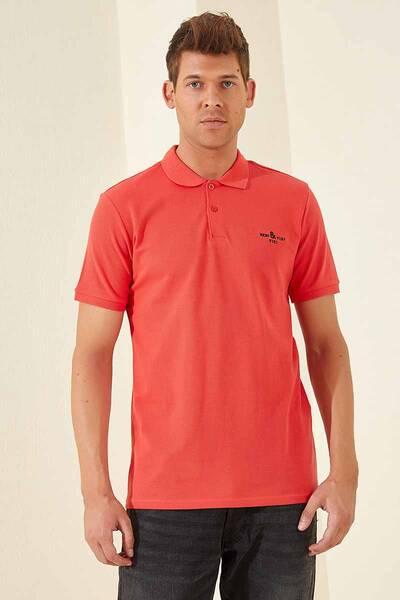 TommyLife - Tommy Life Toptan Klasik Nakışlı Polo Yaka Coral Erkek Tshirt