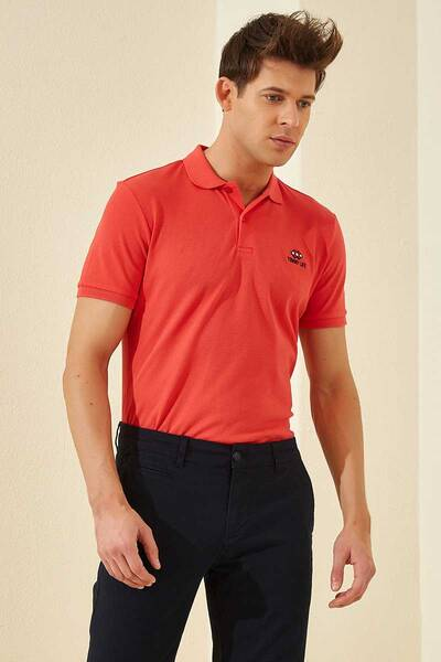 TommyLife - Tommy Life Toptan Coral Erkek Klasik Kısa Kol Dar Kalıp Polo Yaka T-Shirt-87748