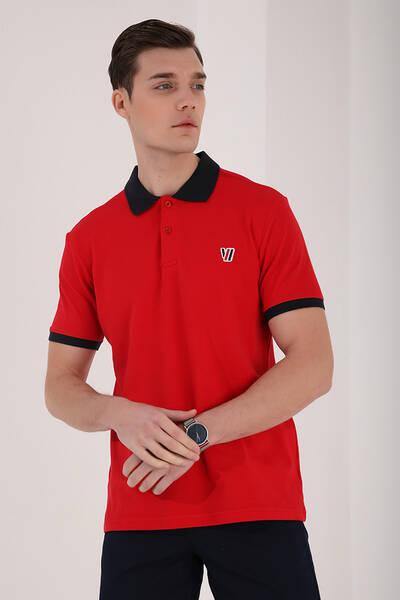 TommyLife - Tommy Life Toptan Kırmızı Erkek Basic Göğüs Logolu Standart Kalıp Polo Yaka T-Shirt - 87938