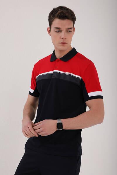 TommyLife - Tommy Life Toptan Kırmızı Erkek Renkli Baskı Şeritli Standart Kalıp Düğmeli Polo Yaka T-Shirt - 87945