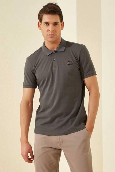 TommyLife - Tommy Life Toptan Koyu Gri Erkek Klasik Kısa Kol Dar Kalıp Polo Yaka T-Shirt-87748