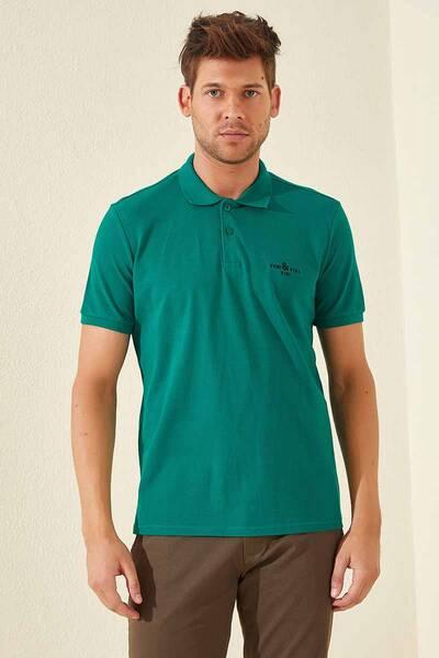 TommyLife - Tommy Life Toptan Klasik Nakışlı Polo Yaka Koyu Yeşil Erkek Tshirt