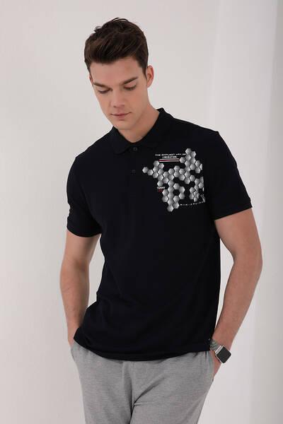 TommyLife - Tommy Life Toptan Lacivert Erkek Altıgen Desen Baskılı Standart Kalıp Polo Yaka T-Shirt - 87928