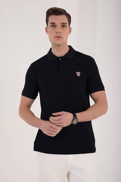TommyLife - Tommy Life Toptan Lacivert Erkek Basic Göğüs Logolu Standart Kalıp Polo Yaka T-Shirt - 87938