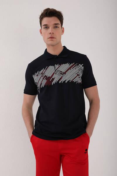 TommyLife - Tommy Life Toptan Lacivert Erkek Sayı Detaylı Çizgi Baskılı Standart Kalıp Polo Yaka T-Shirt - 87955