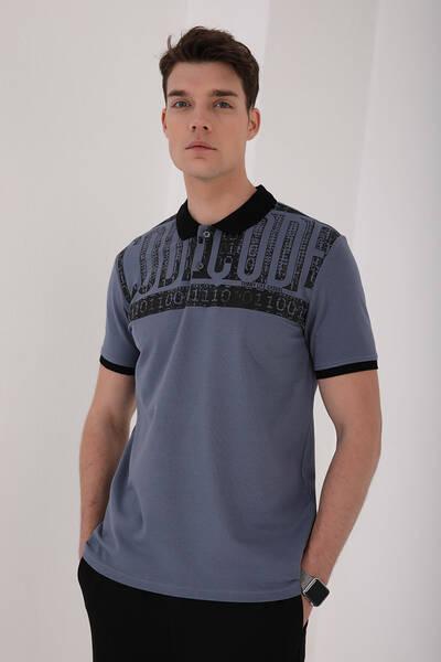 TommyLife - Tommy Life Toptan Petrol Erkek Eskitme Yazı Baskılı Standart Kalıp Polo Yaka T-Shirt - 87929