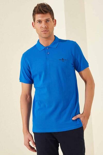 TommyLife - Tommy Life Toptan Klasik Nakışlı Polo Yaka Saks Erkek Tshirt