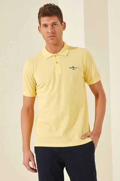 TommyLife - Tommy Life Toptan Klasik Nakışlı Polo Yaka Sarı Erkek Tshirt