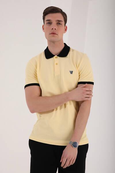 TommyLife - Tommy Life Toptan Sarı Erkek Basic Göğüs Logolu Standart Kalıp Polo Yaka T-Shirt - 87938