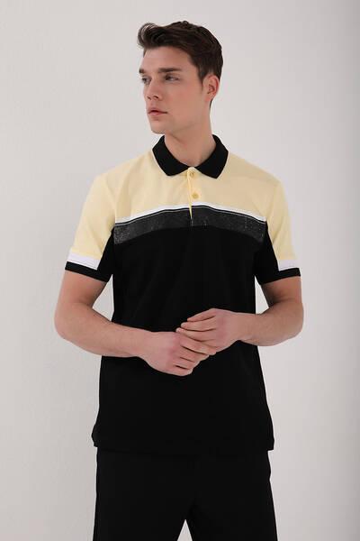 TommyLife - Tommy Life Toptan Sarı Erkek Renkli Baskı Şeritli Standart Kalıp Düğmeli Polo Yaka T-Shirt - 87945