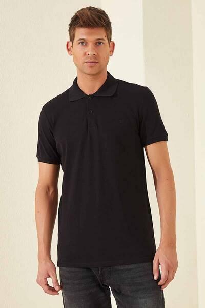 TommyLife - Tommy Life Toptan Klasik Nakışlı Polo Yaka Siyah Erkek Tshirt
