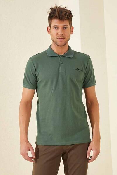 TommyLife - Tommy Life Toptan Klasik Nakışlı Polo Yaka Yeşil Erkek Tshirt