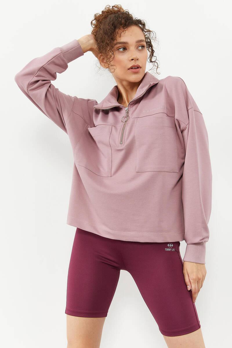 TommyLife - Tommy Life Toptan Gül kurusu Kadın Göğüs Cepli Yarım Fermuar Oversize Sweatshirt - 97154