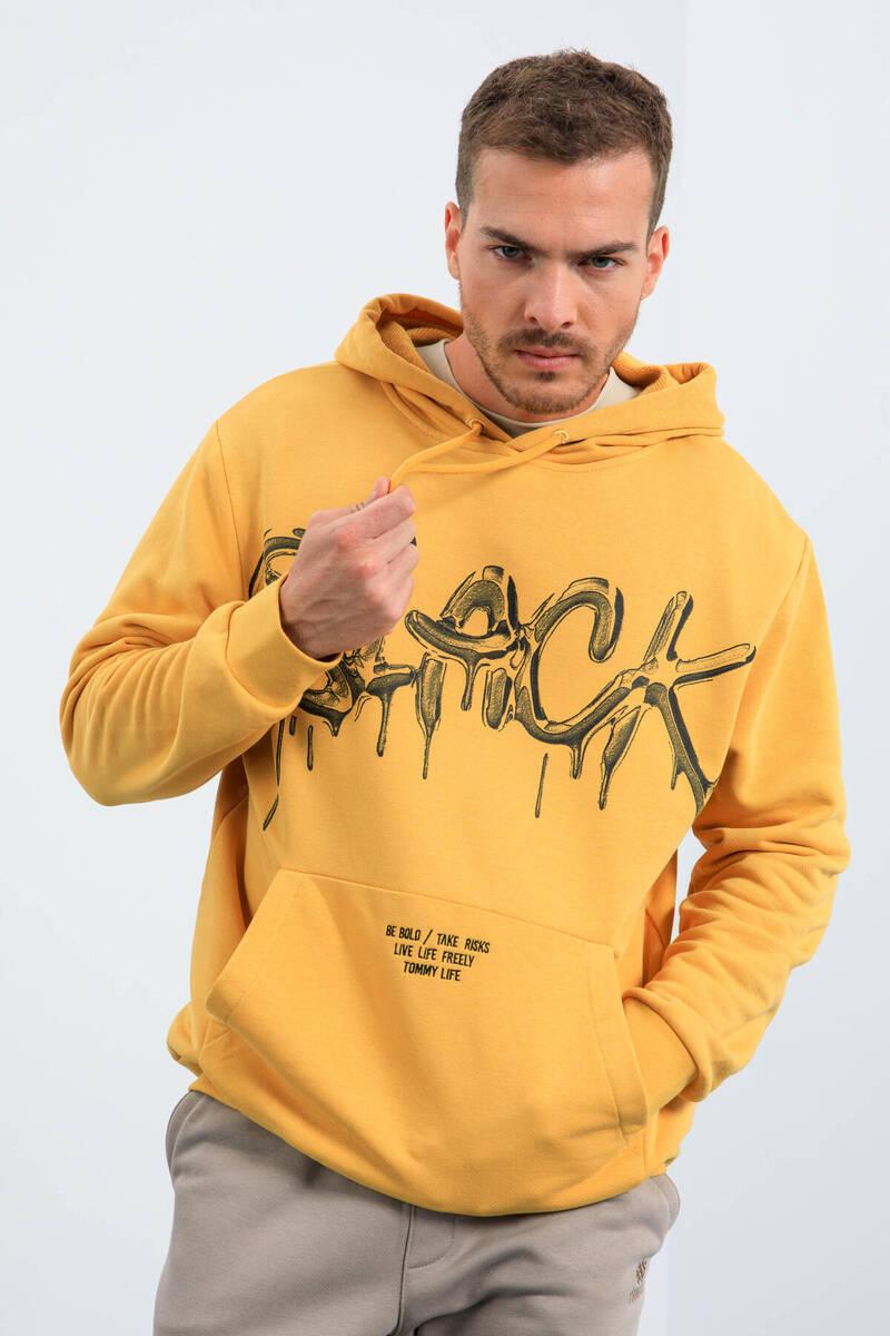 TommyLife - Tommy Life Toptan Hardal Erkek Graffiti Yazı Baskılı Kapüşonlu Rahat Form Sweatshirt - 88031