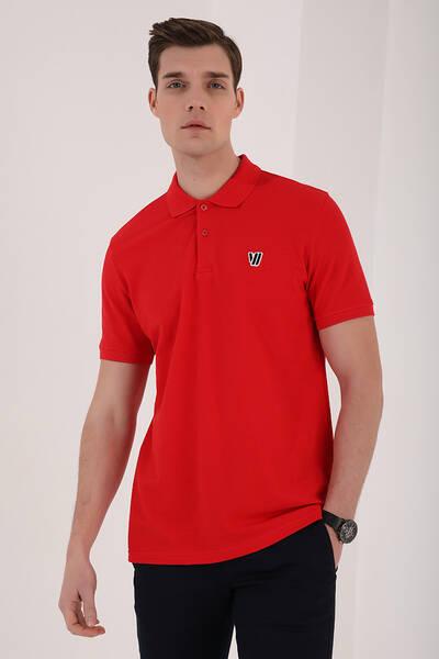 TommyLife - Tommy Life Toptan Kırmızı Erkek Basic Göğüs Logolu Standart Kalıp Triko Polo Yaka T-Shirt - 87768