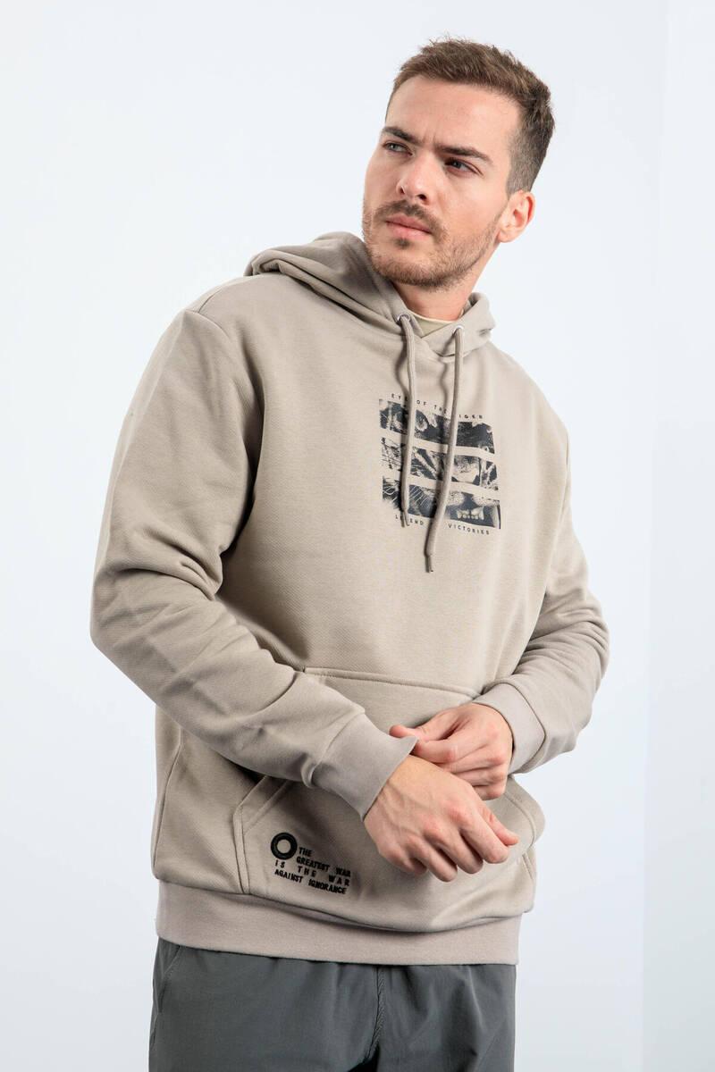 TommyLife - Tommy Life Toptan Koyu Bej Erkek Kaplan Baskılı Kapüşonlu Rahat Form Sweatshirt - 88036