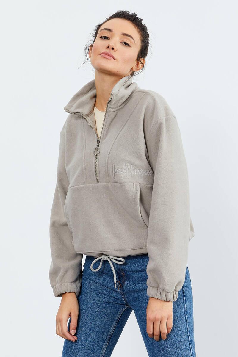 TommyLife - Tommy Life Toptan Koyu Bej Kadın Yarım Fermuar Etek Ucu Büzgülü Oversize Polar Sweatshirt - 97171