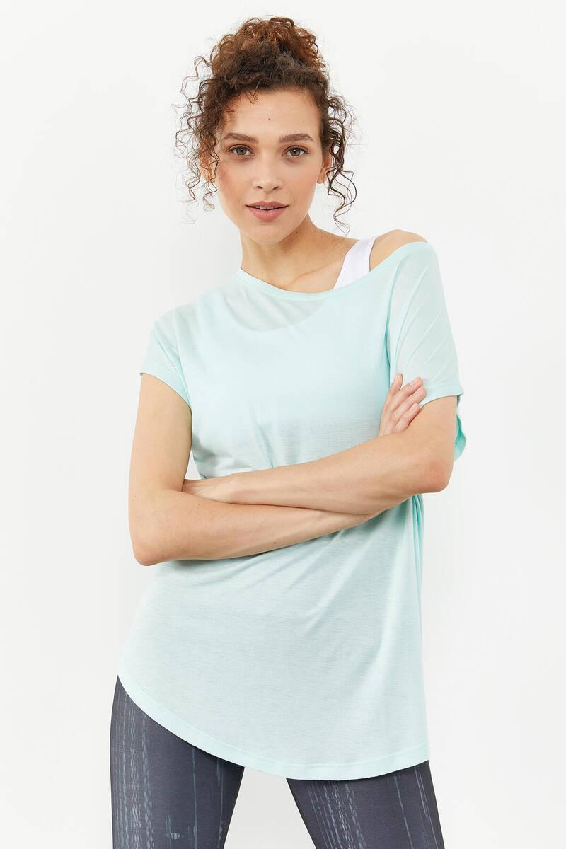 TommyLife - Tommy Life Toptan Mint yeşili Kadın Basic Kısa Kol Rahat Form O Yaka T-Shirt - 97151