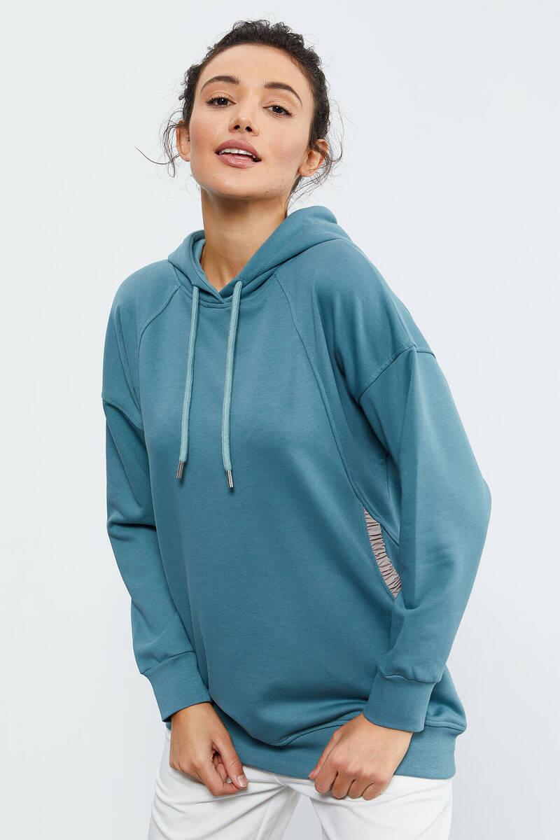 TommyLife - Tommy Life Toptan Mint Yeşili Kadın Büzgü Cepli Kapüşonlu Oversize Sweatshirt - 97179