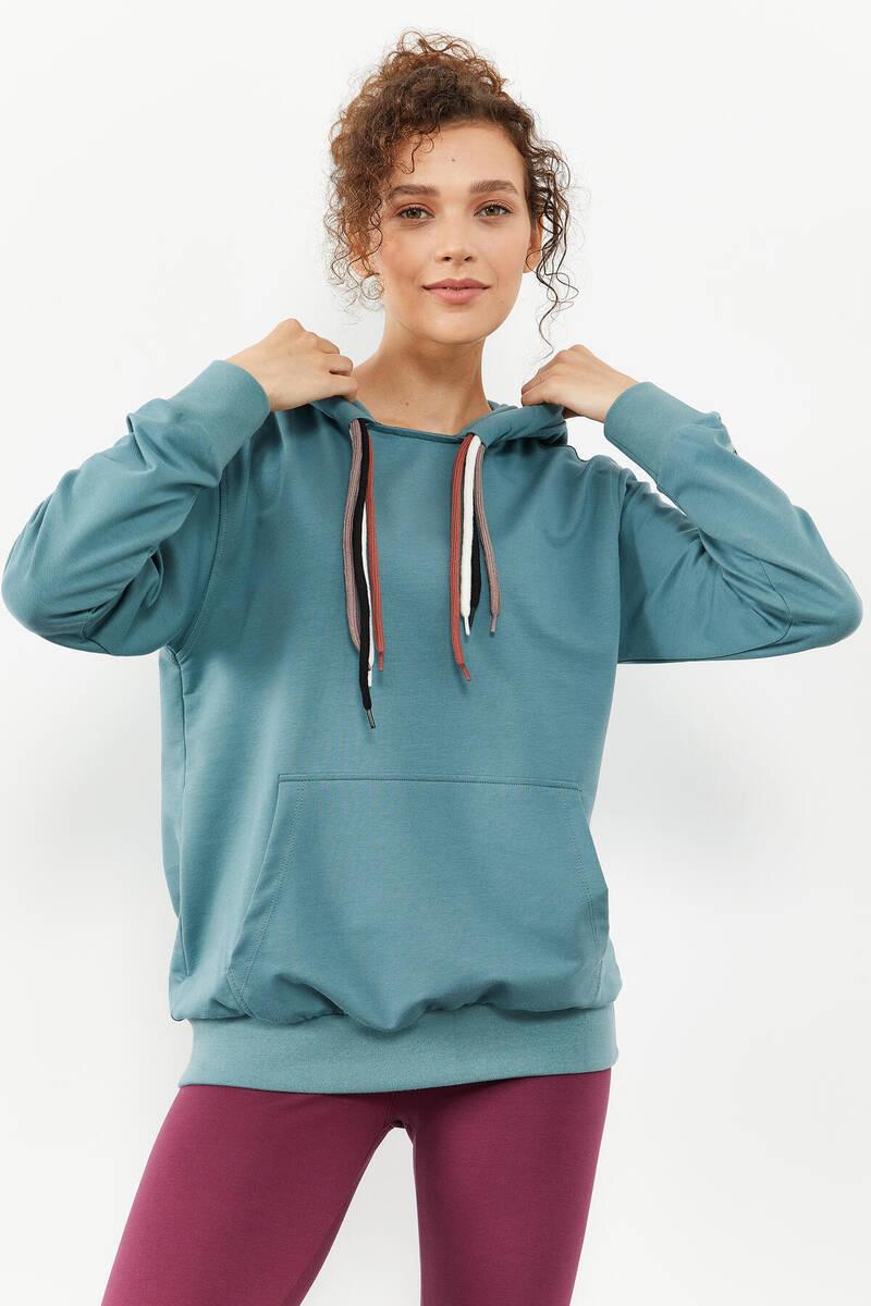 TommyLife - Tommy Life Toptan Mint yeşili Kadın Dört Renk Bağcıklı Oversize Sweatshirt - 97157