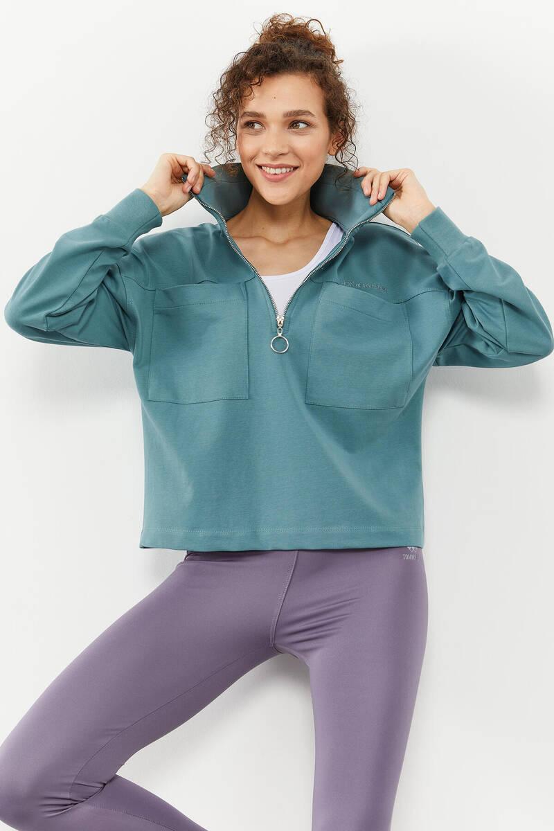 TommyLife - Tommy Life Toptan Mint yeşili Kadın Göğüs Cepli Yarım Fermuar Oversize Sweatshirt - 97154