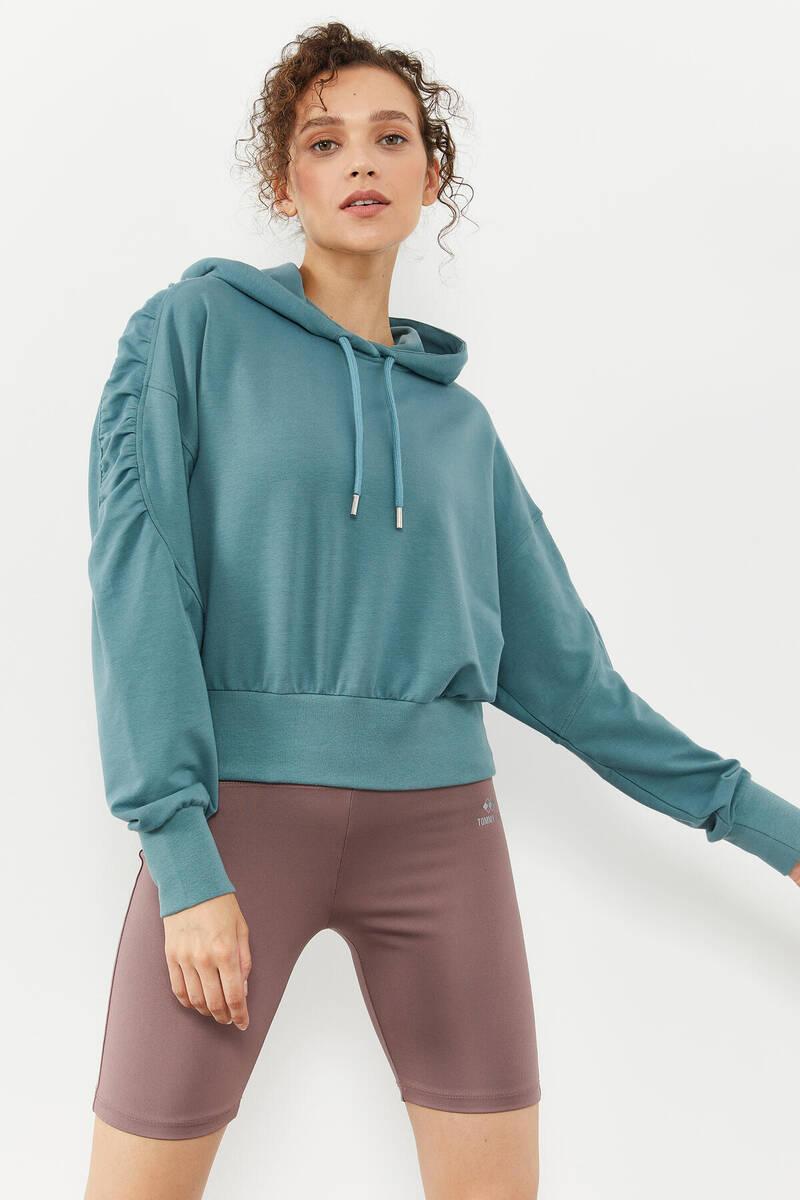 TommyLife - Tommy Life Toptan Mint Yeşili Kadın Omuz Büzgü Detaylı Uzun Kol Oversize Sweatshirt - 97166