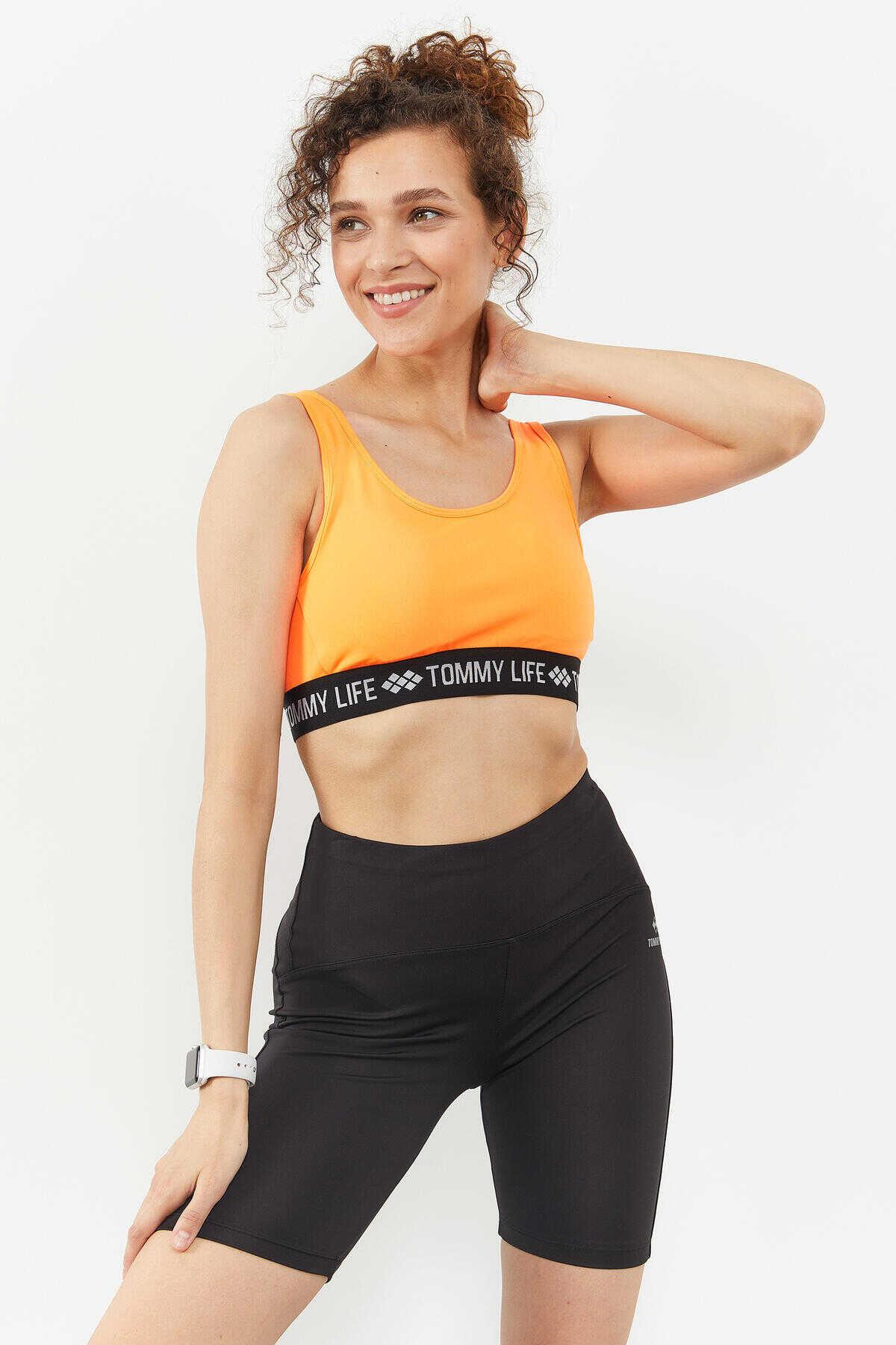 Tommy Life Toptan Neon oranj Kadın Yazı Şeritli Standart Kalıp U Yaka Spor Büstiyer - 97113